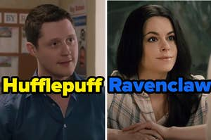 """Patrick with the word """"Hufflepuff"""" and Stevie with the word """"Ravenclaw"""" from """"Schitt's Creek"""""""