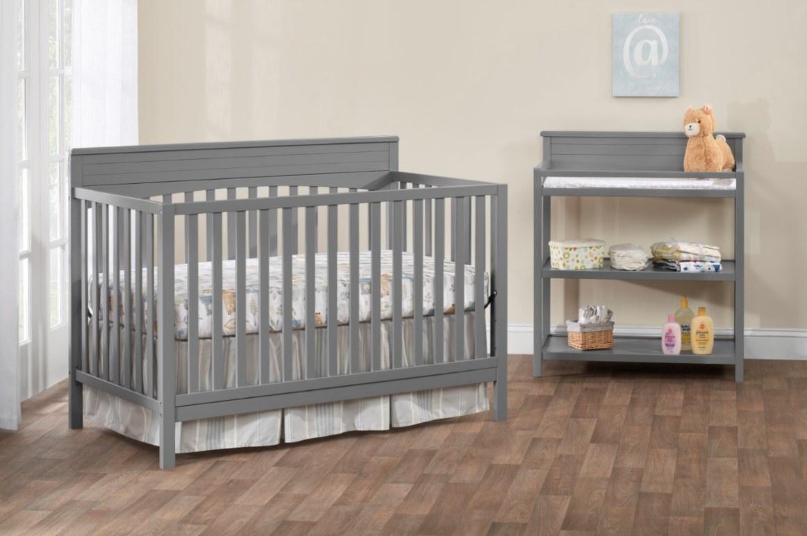 The convertible crib in dove gray