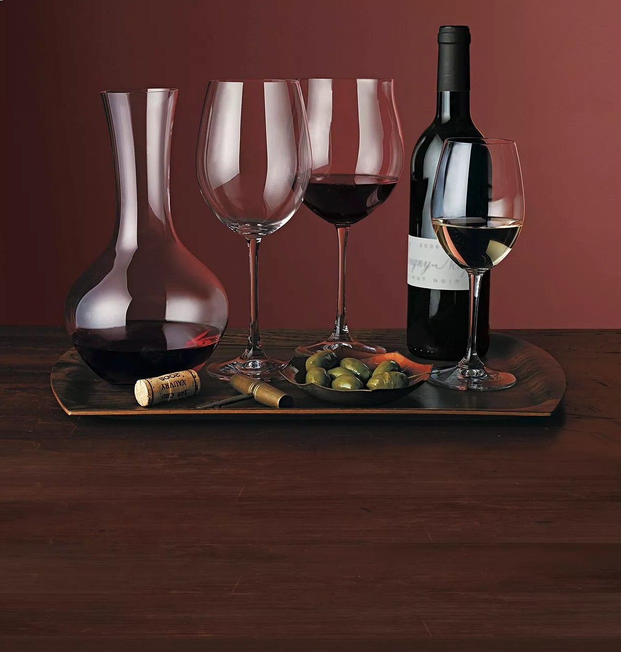 A variety of Riedel wine glasses and a decanter