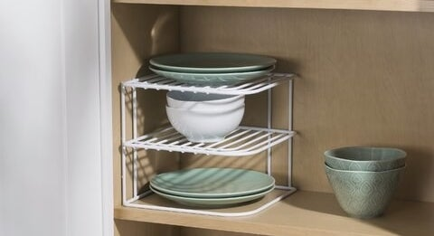 White wire frame shelf with two tiers for stacking kitchen essentials