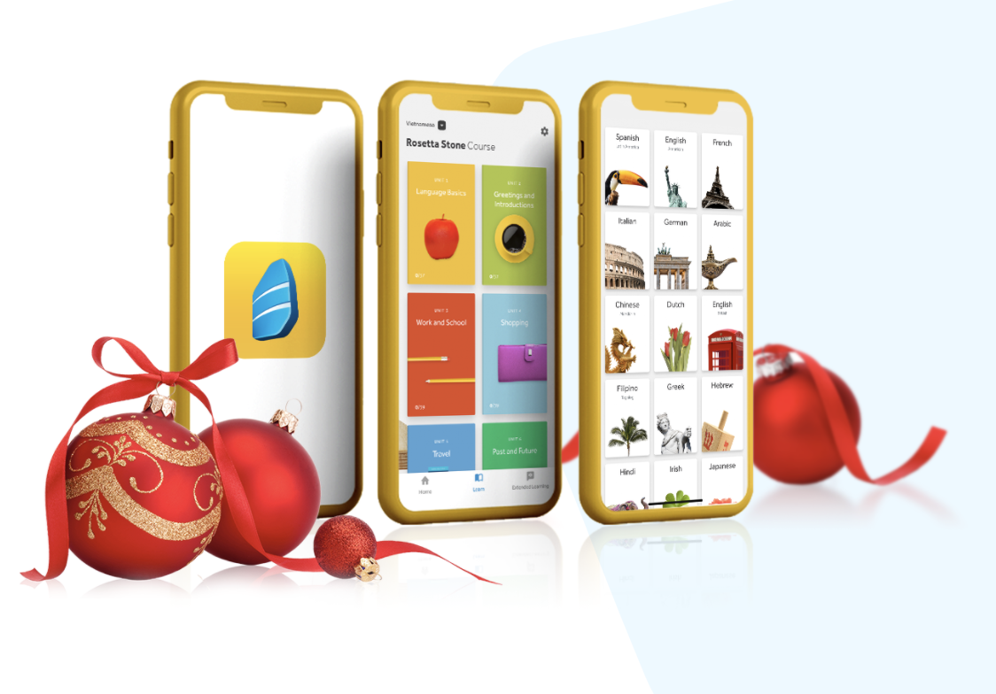 Three smart phones with example screens from the program surrounded by red and gold classic ornaments