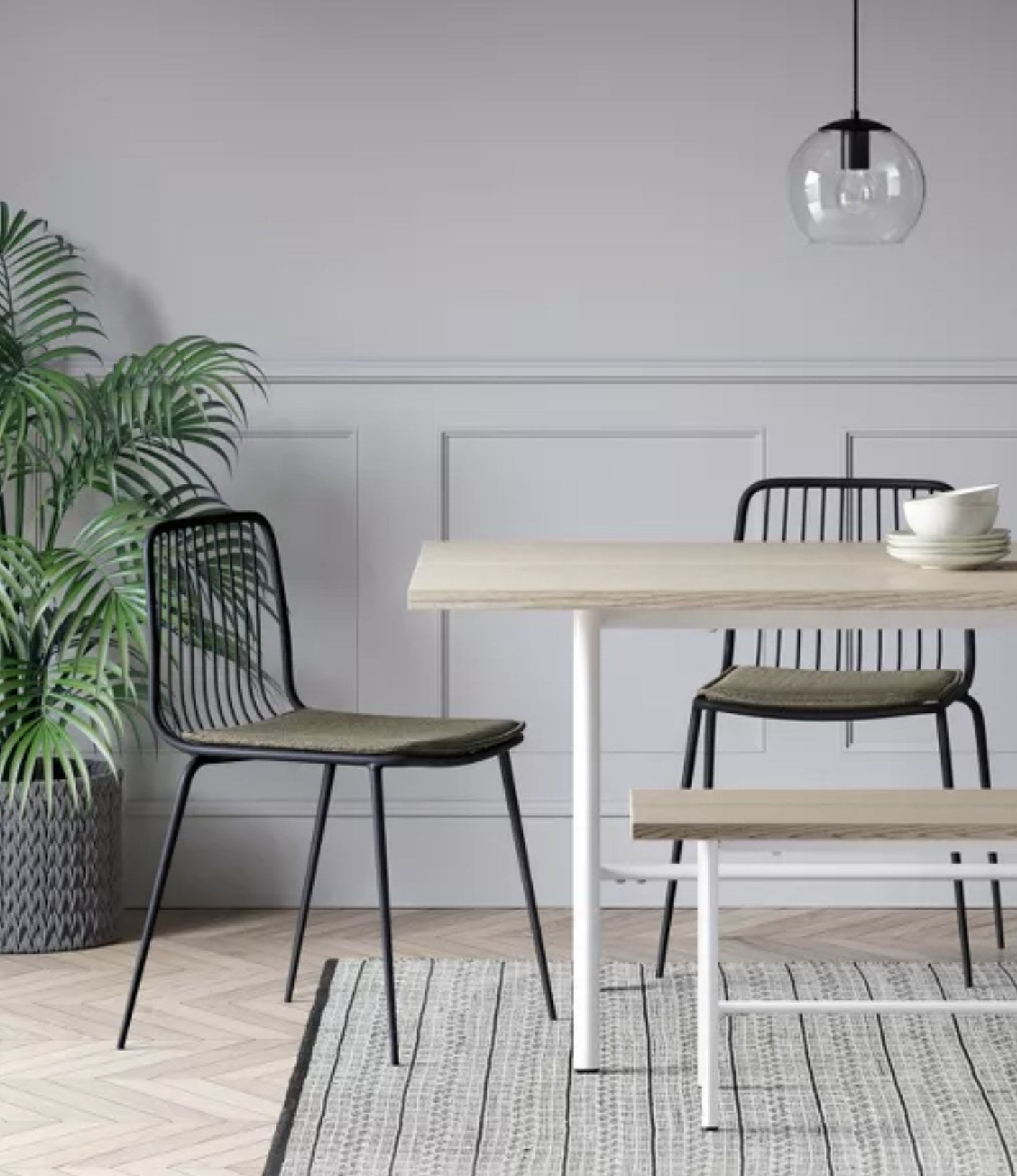 The chairs in a dining room
