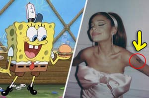 Spongebob smiling at a Krabby Patty and Ariana Grande with a mysterious tattoo