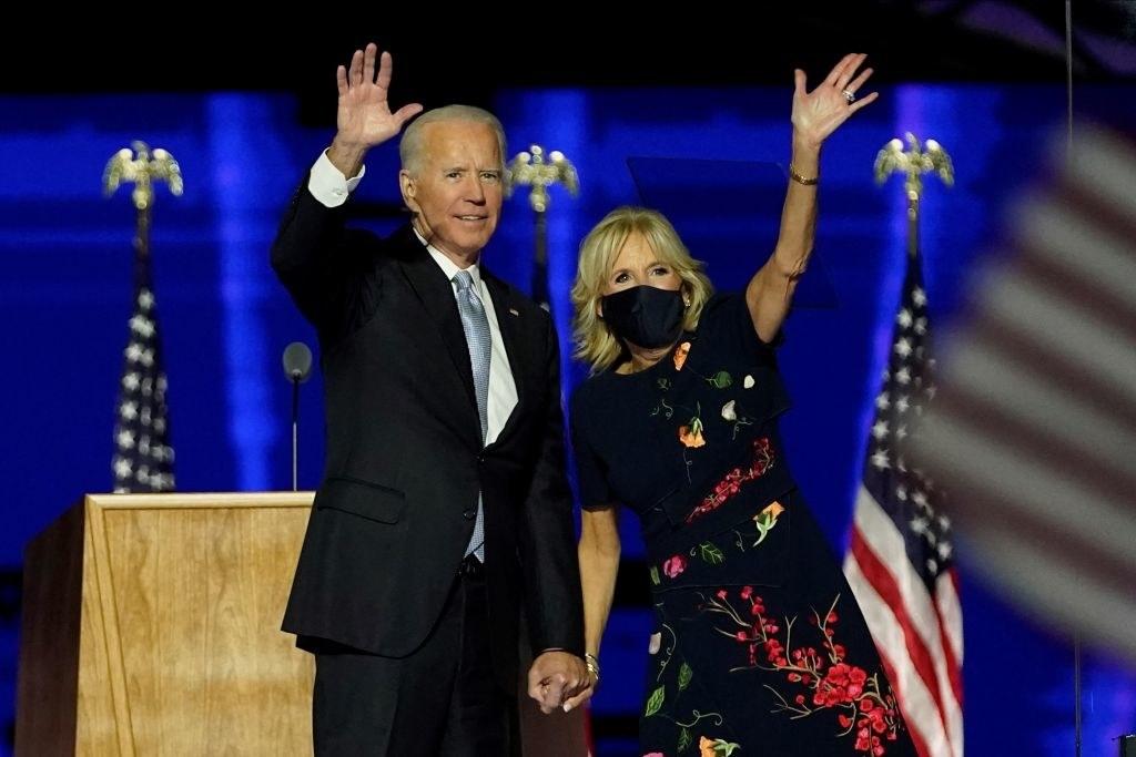 Joe Biden and Dr. Jill Biden waving the crowd after Joe was declared the winner of the US presidential election.