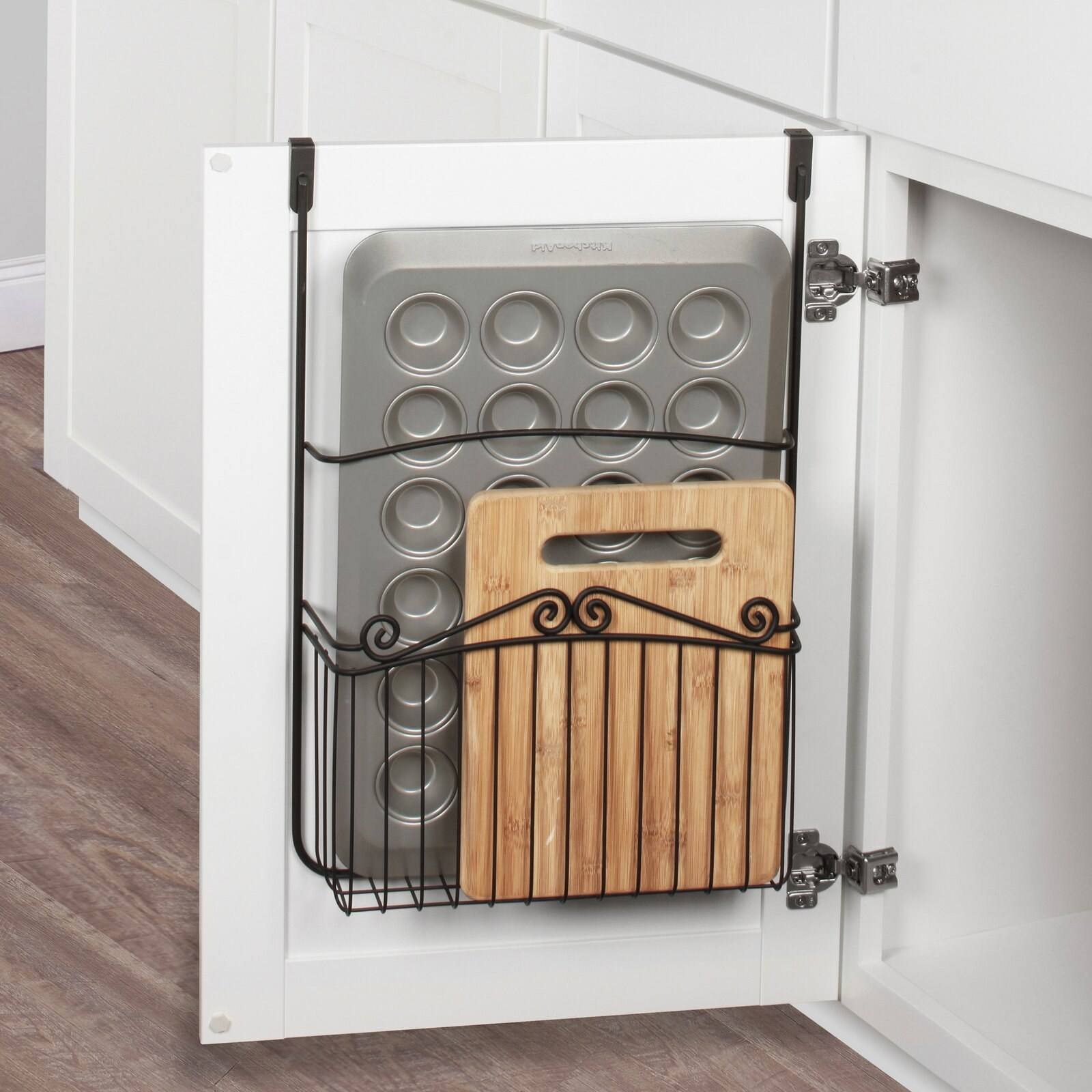 Steel over-the-door organizer with foam brackets for easy installation