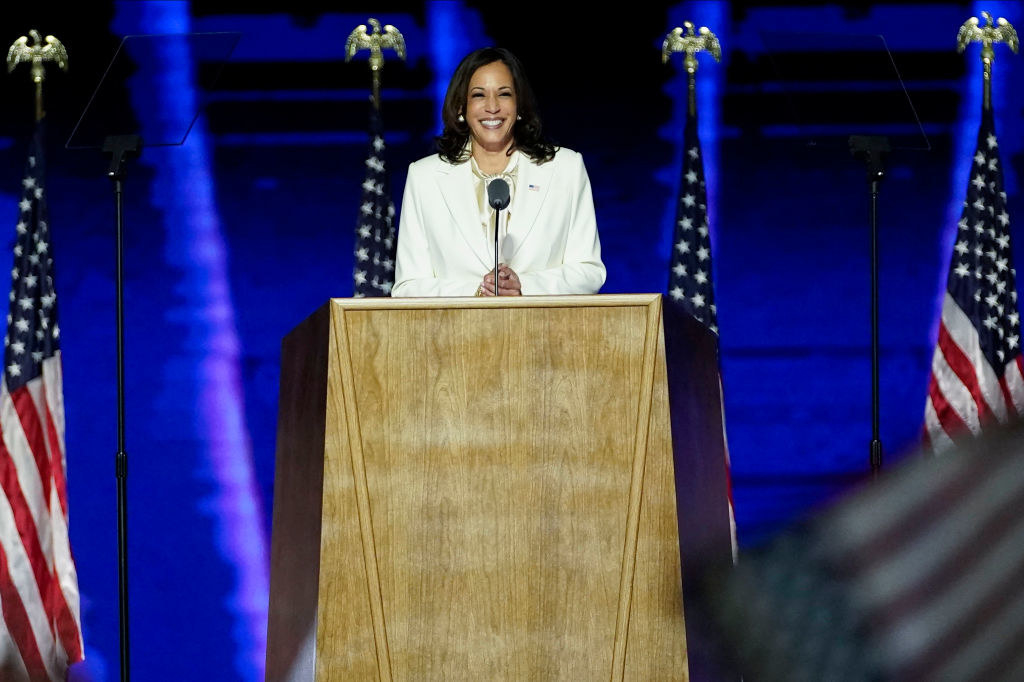 Vice President-elect Kamala Harris delivers remarks in Wilmington, Delaware, on November 7, 2020, after being declared the winners of the presidential election