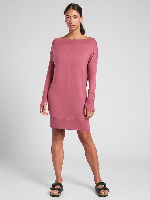 model wearing the dress in berry
