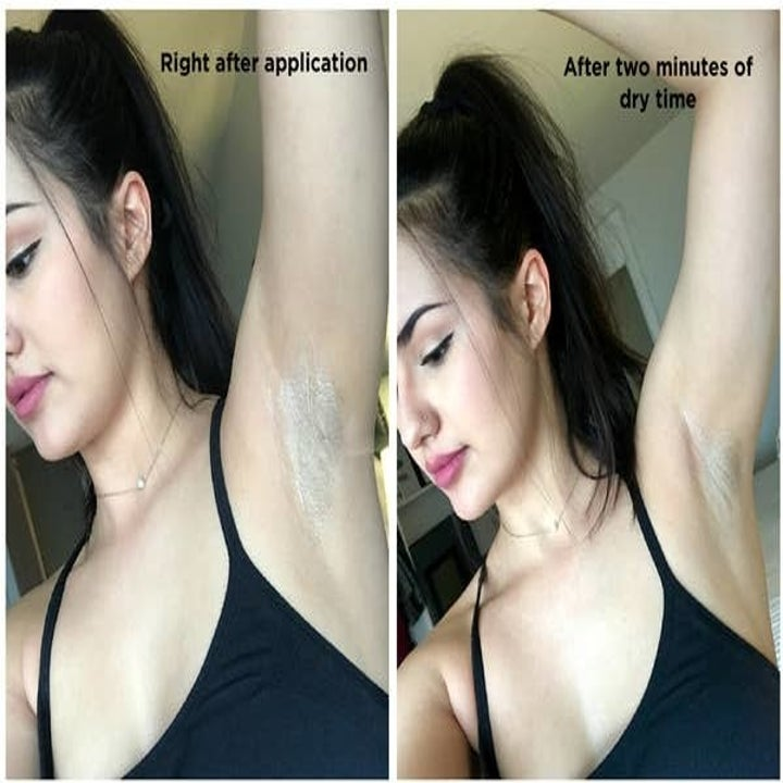 Kayla using the deodorant. Showing right after application and no residue a few minutes after application
