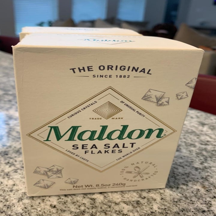 A reviewer photo of the Maldon sea salt flakes box sitting on a countertop