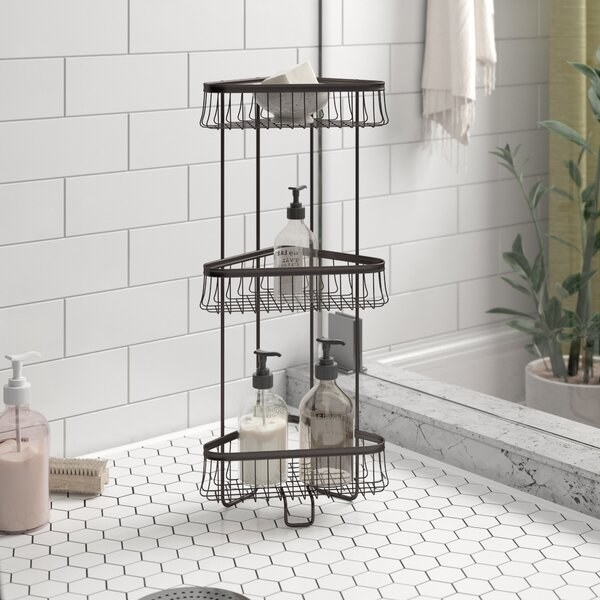 Rust-resistant shower caddy with three metal wire shelves