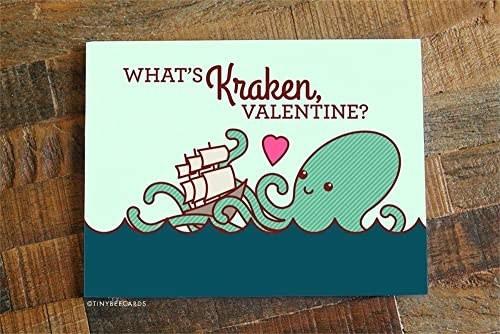 "A cartoon of a kraken hugging a ship, with ""What's kraken, Valentine?"" written in brown type"