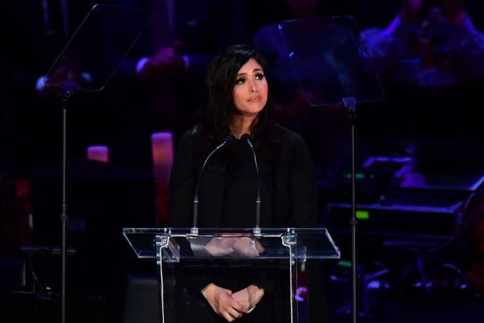 """Vanessa Bryant speaking during the """"Celebration of Life for Kobe and Gianna Bryant"""" service at Staples Center in Downtown Los Angeles on February 24, 2020"""