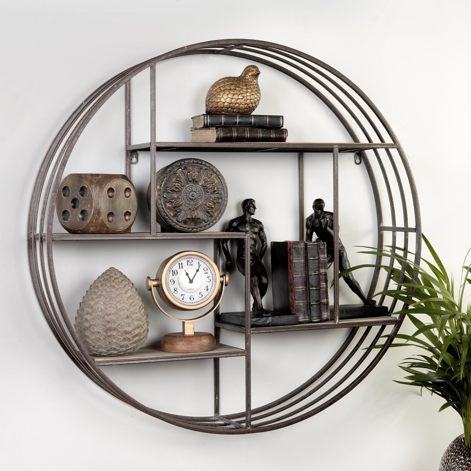 Round metal frame with four wooden shelves