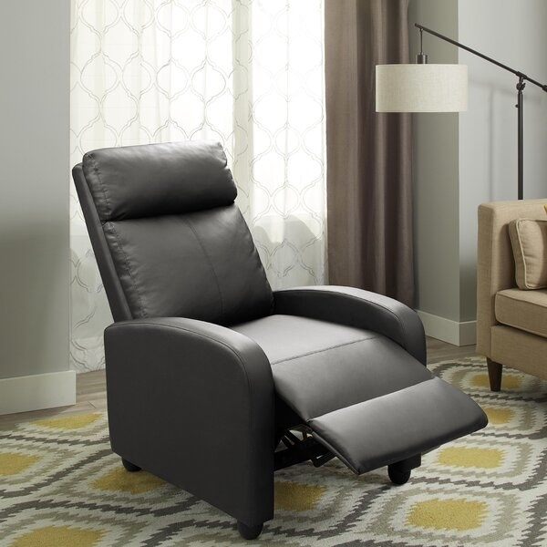 Sleek faux leather chair with lumbar massage capabilities