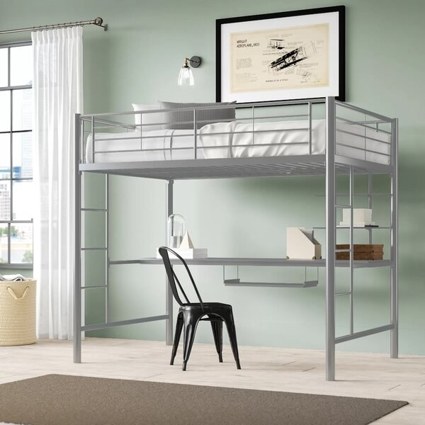 Sturdy metal frame with bed space on top and desk and work area underneath