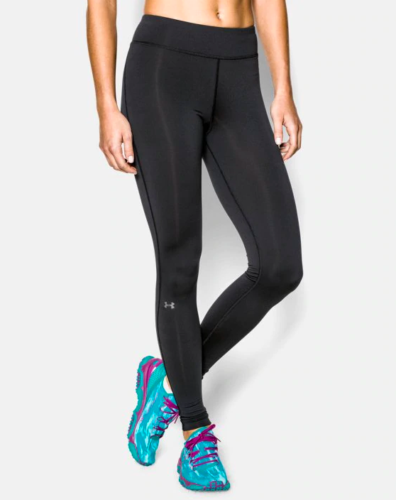a model wearing the cold gear leggings with a small Under Armour logo on the leg