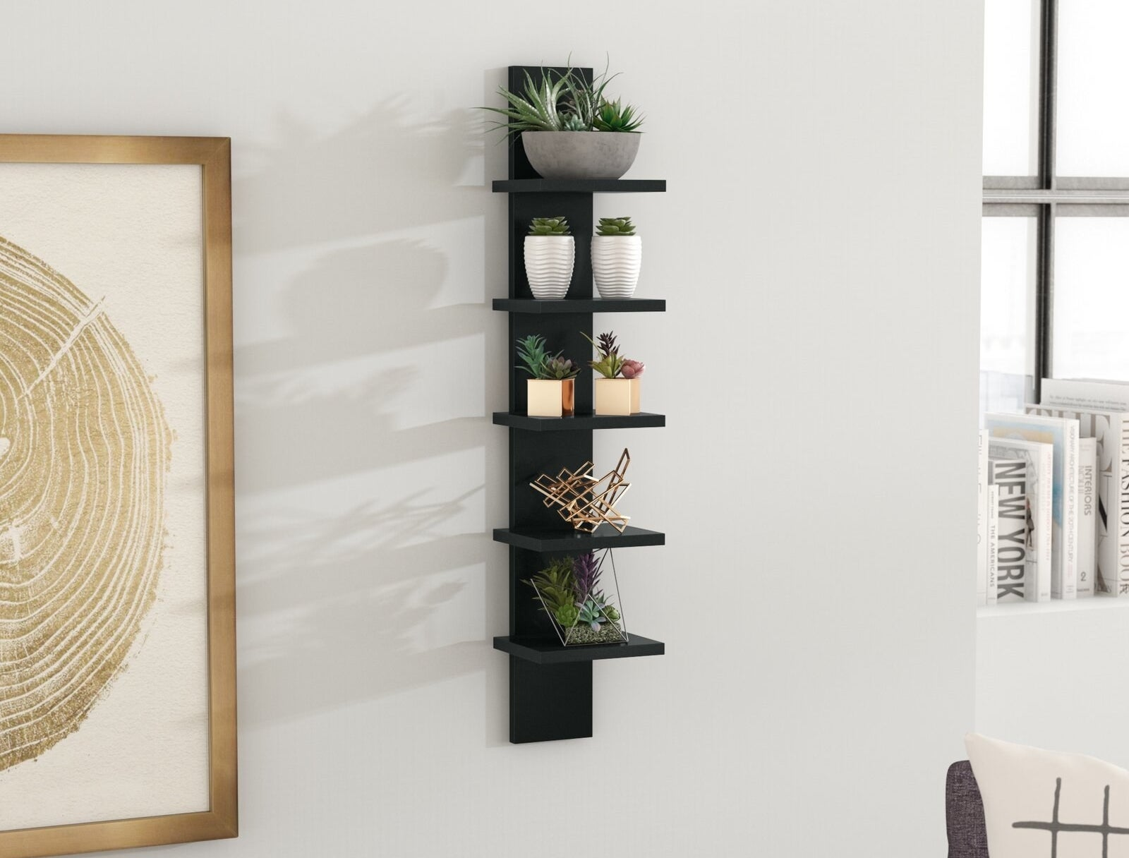 Hanging wall shelf with five shelves for added storage or display purposes