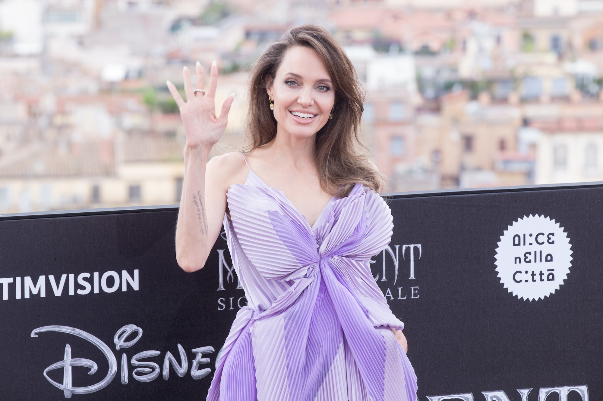 "Angelina Jolie wearing dress by Givenchy during the photocall of the film ""Maleficent - Lady of Evil"" directed by Joachim Rønning, distributed by The Walt Disney Company"