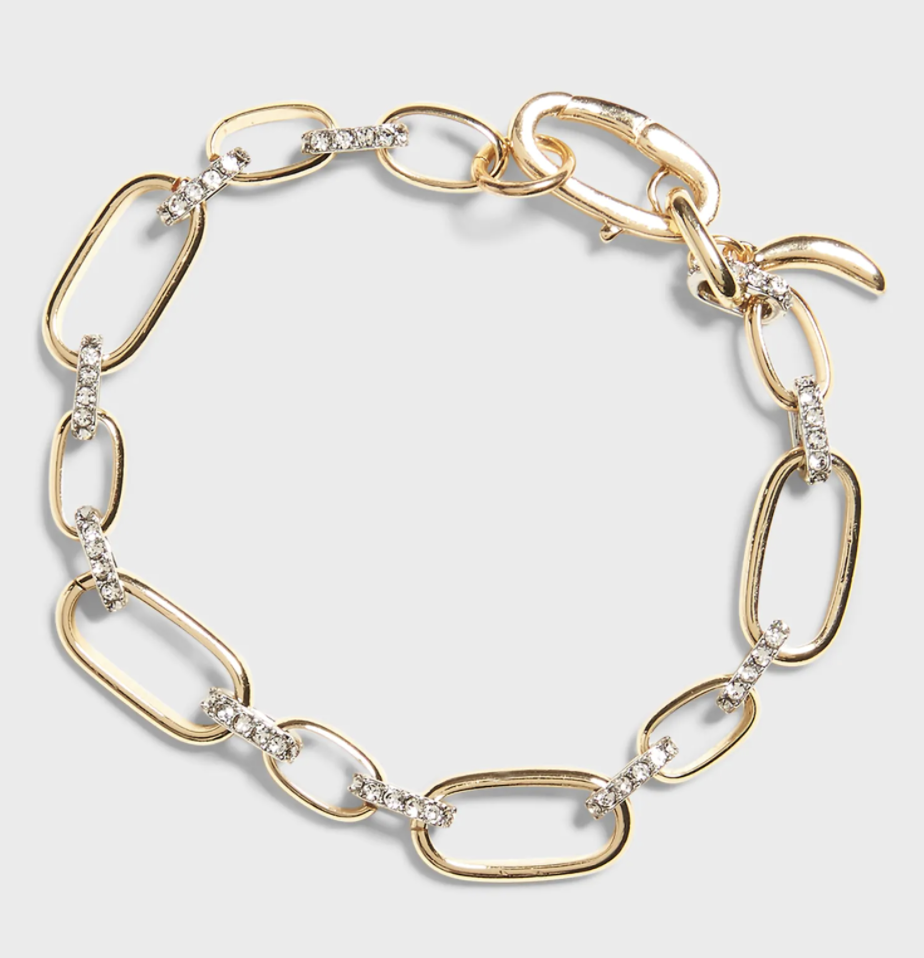Gold pavé link bracelet