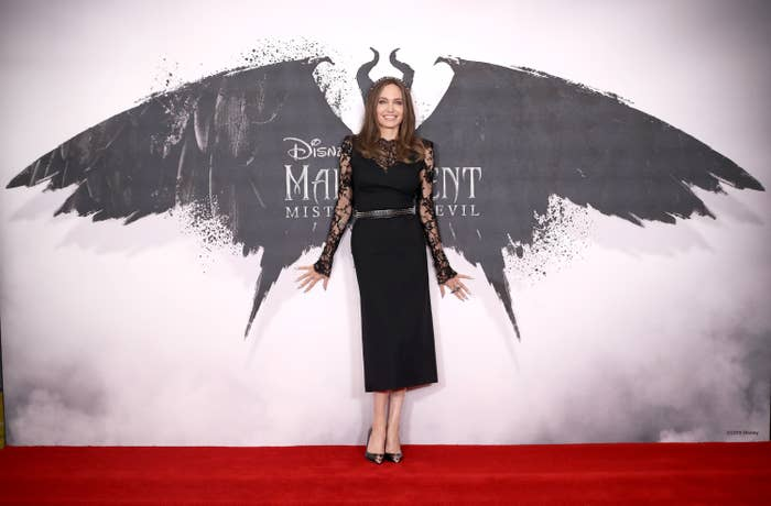 """Angelina Jolie attends a photocall for """"Maleficent: Mistress of Evil"""" at Mandarin Oriental Hotel on October 10, 2019 in London, England"""