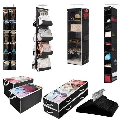 Fabric organizing set with velvet hangers, floor storage, and hanging storage