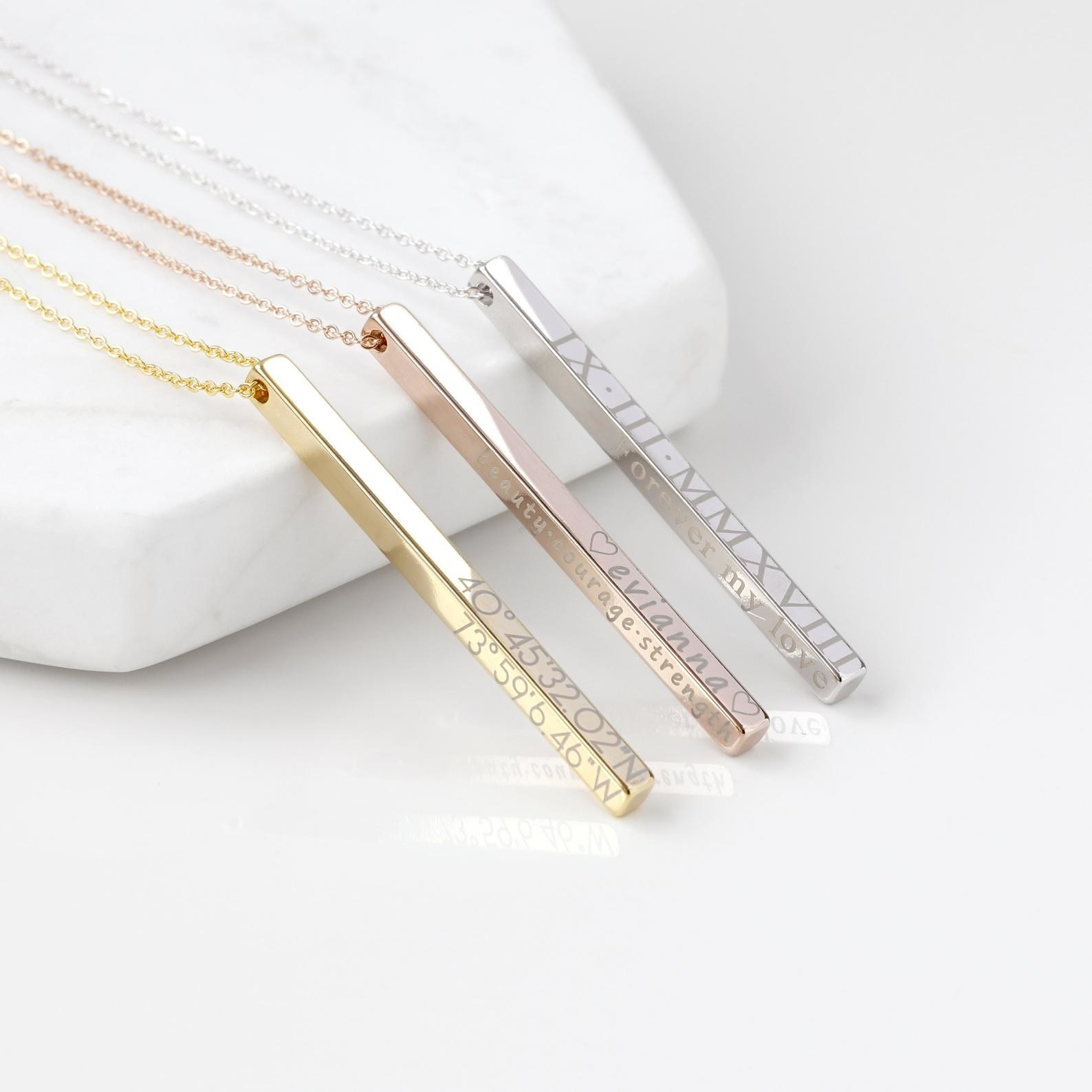 the personalized bar necklaces in gold, rose gold, and silver with custom engravings