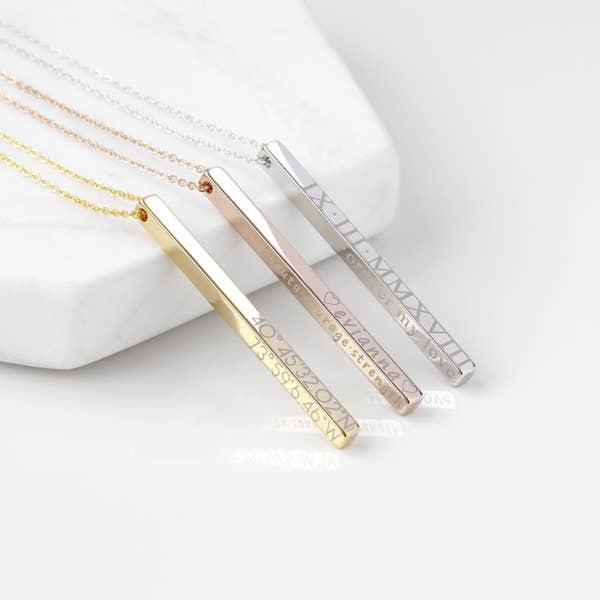 金色、玫瑰金和銀色個性化條形項鍊情人節禮物