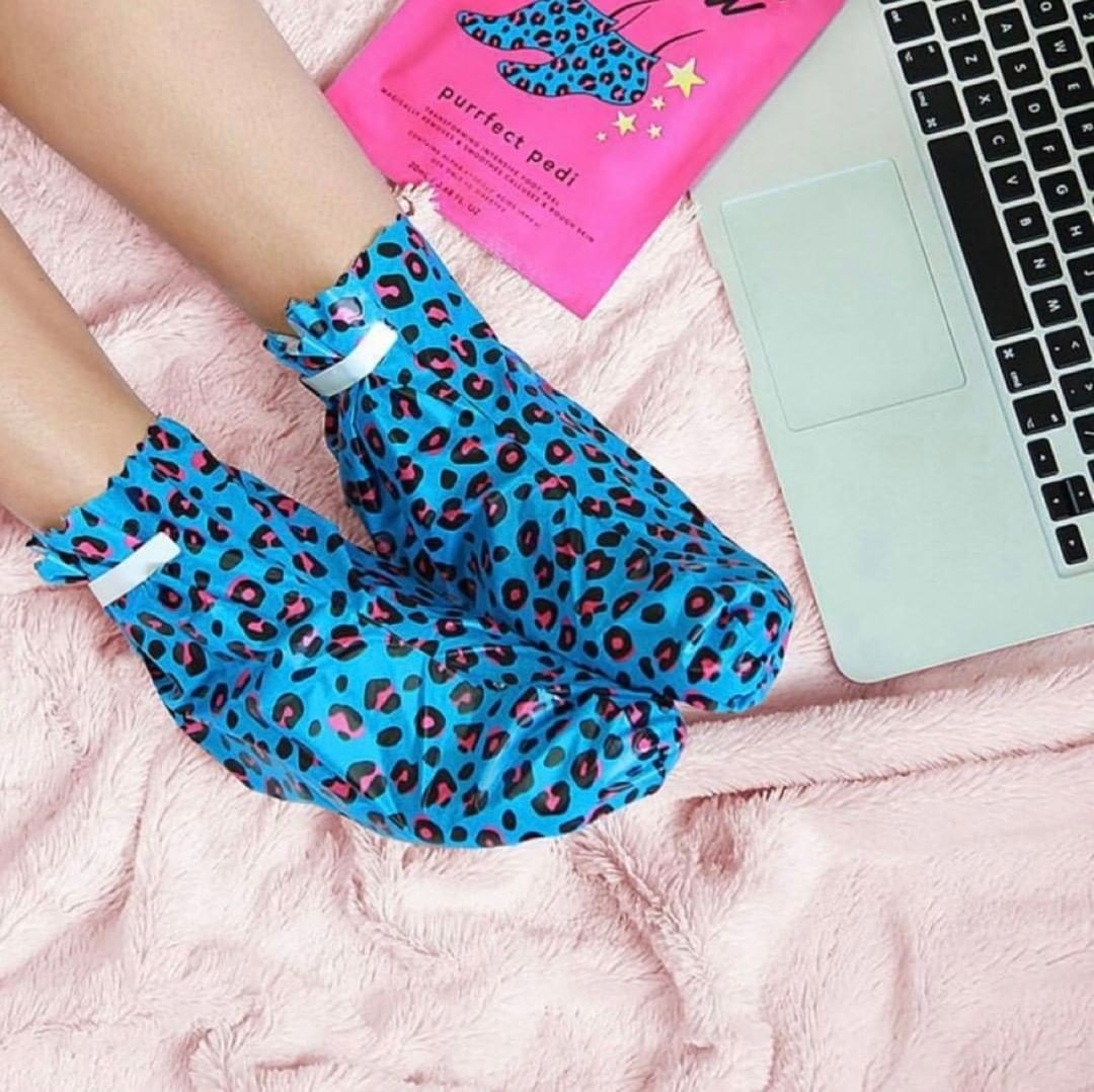 The bright blue and pink leopard print foot masks