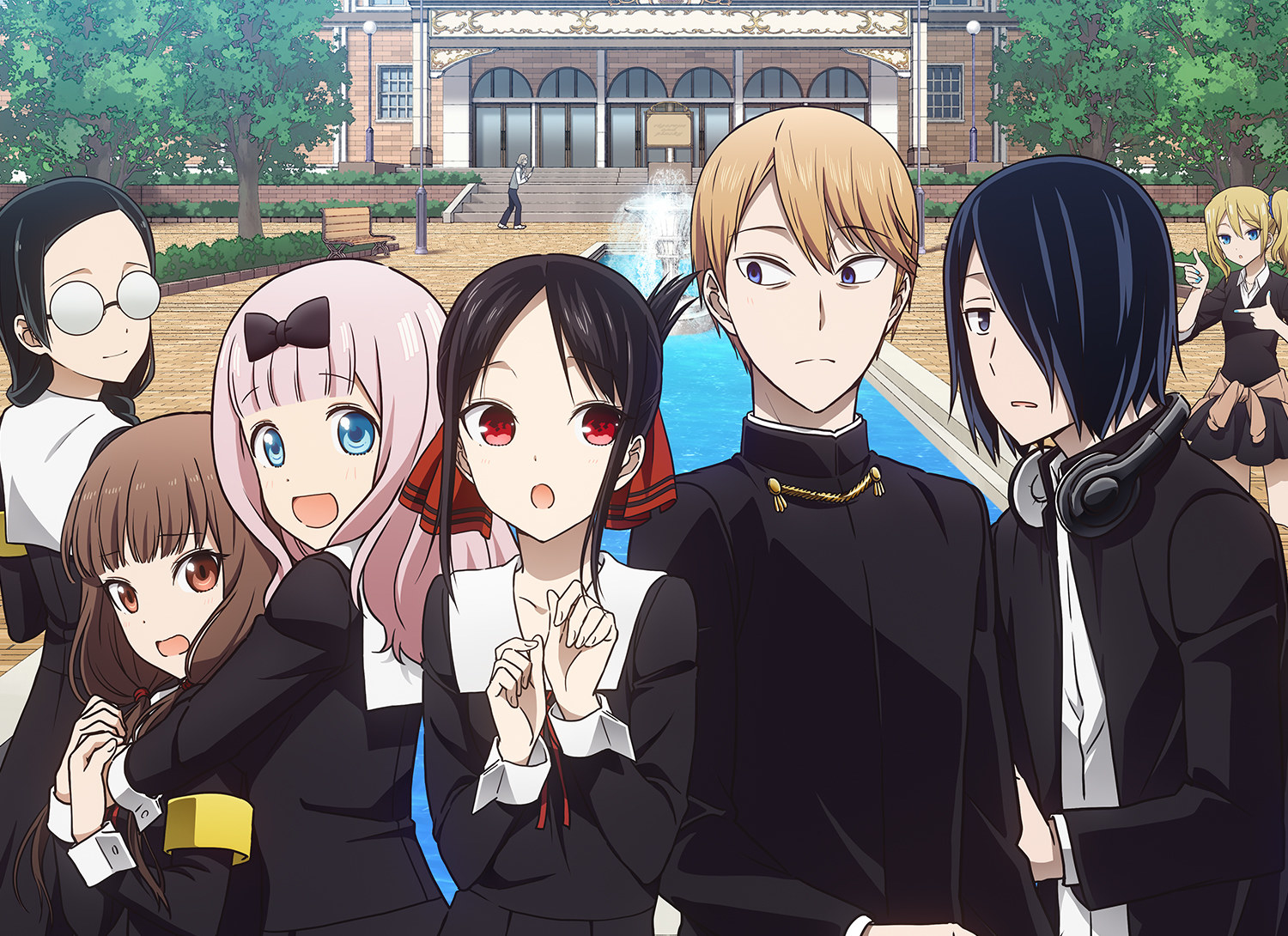 Characters of Kaguya-Sama: Love Is War standing in front of their school building