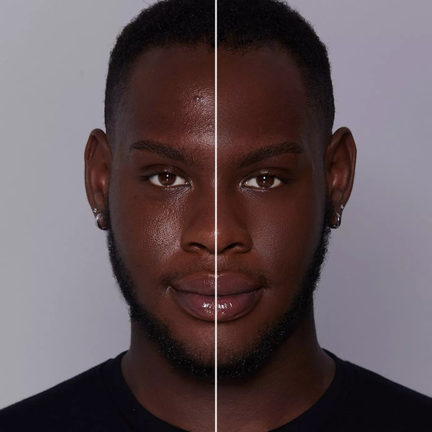 A before and after of a model using the foundation