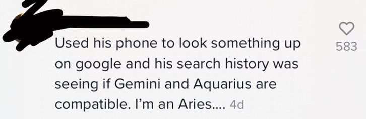 """Comment saying, """"His search history was seeing if Gemini and Aquarius are compatible. I'm an Aries."""""""