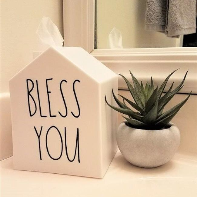 the house-shaped tissue box. with a bless you sticker on the side
