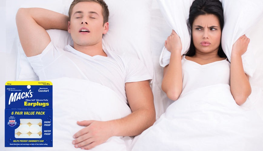 a pack of earplugs photoshopped over a woman sleeping next to a snoring man with a pillow wrapped around her ears
