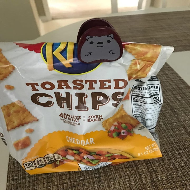 a clip that looks like a beaver attached to a bag of chips