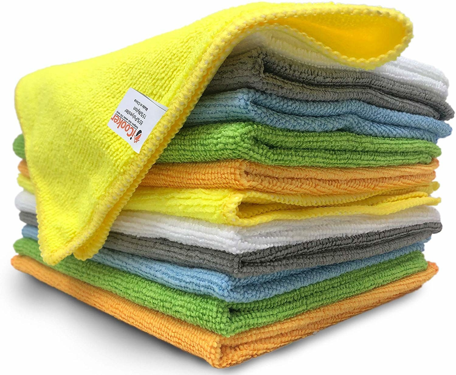 stack of folded, different colored microfiber cloths