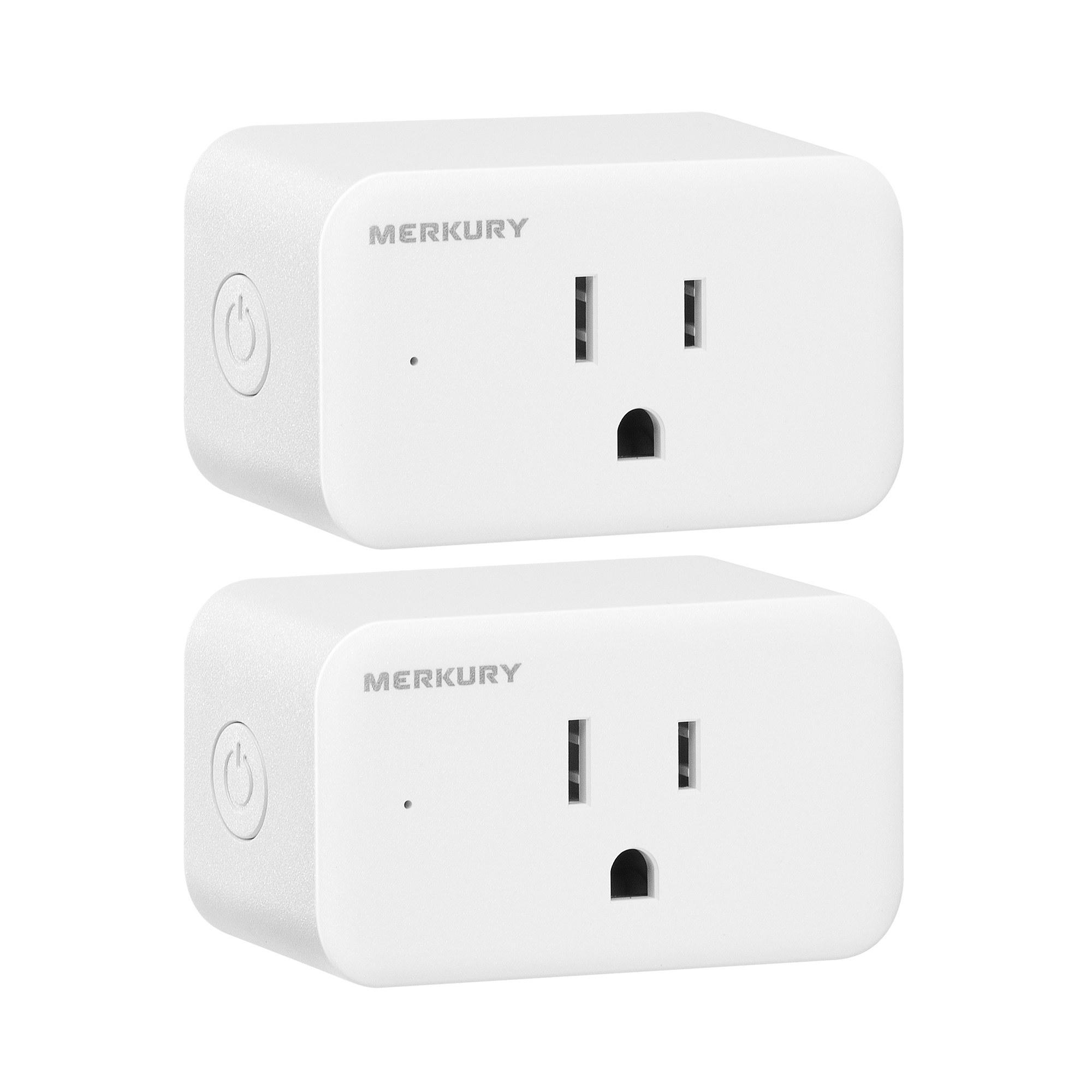 two white smart plugs
