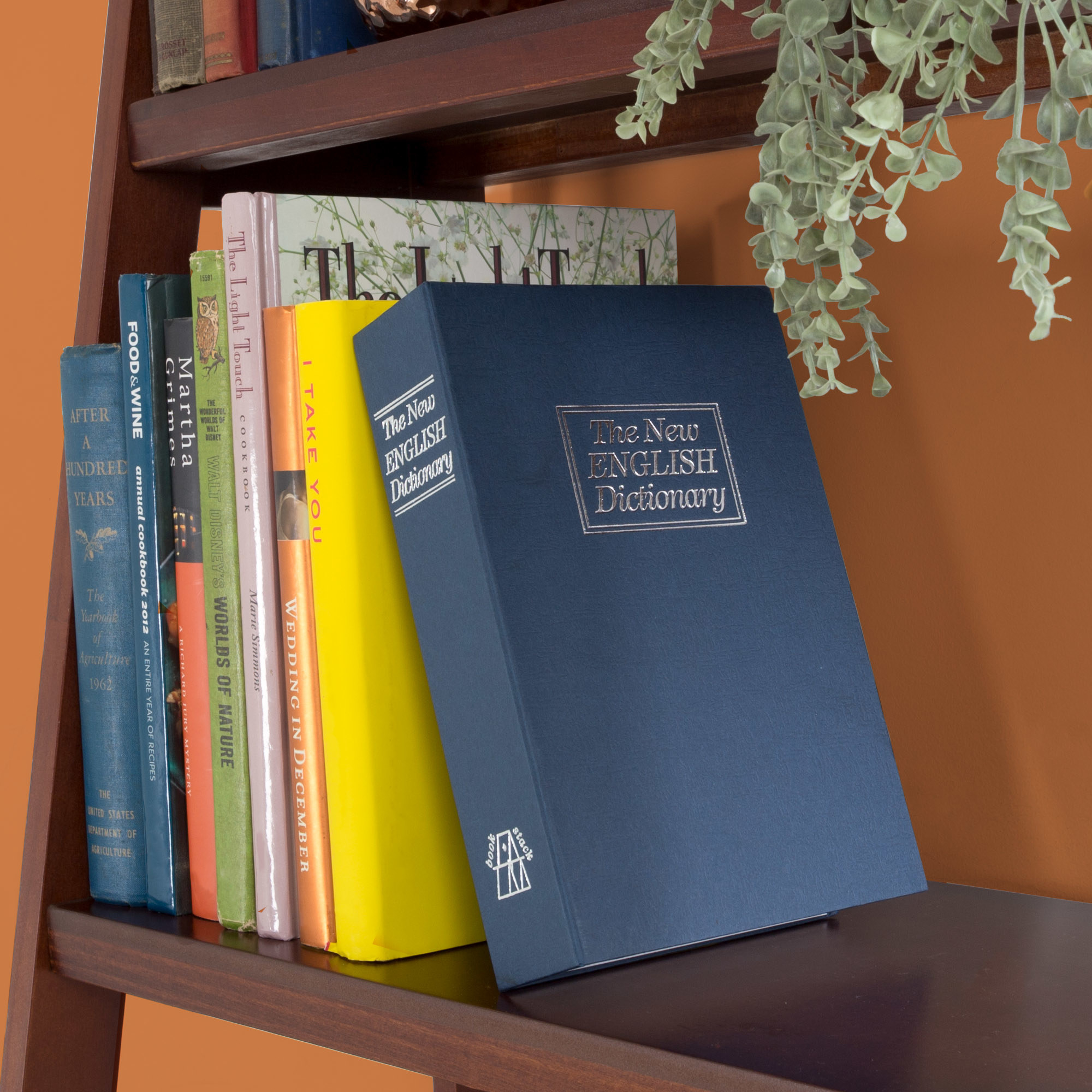 blue dictionary book safe on a bookshelf with other books