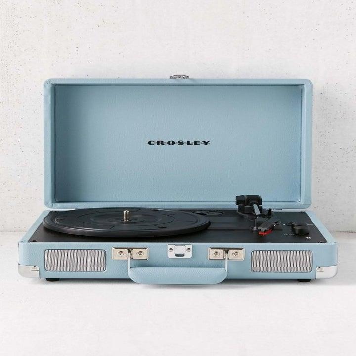 the blue crosley tourmaline cruiser record player