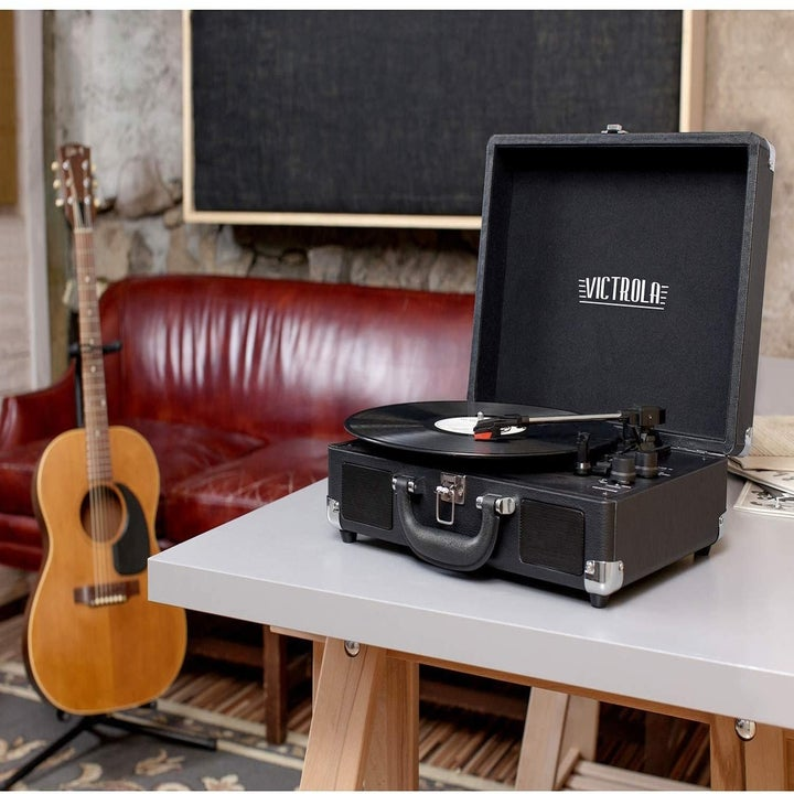 the black victoria vintage record player