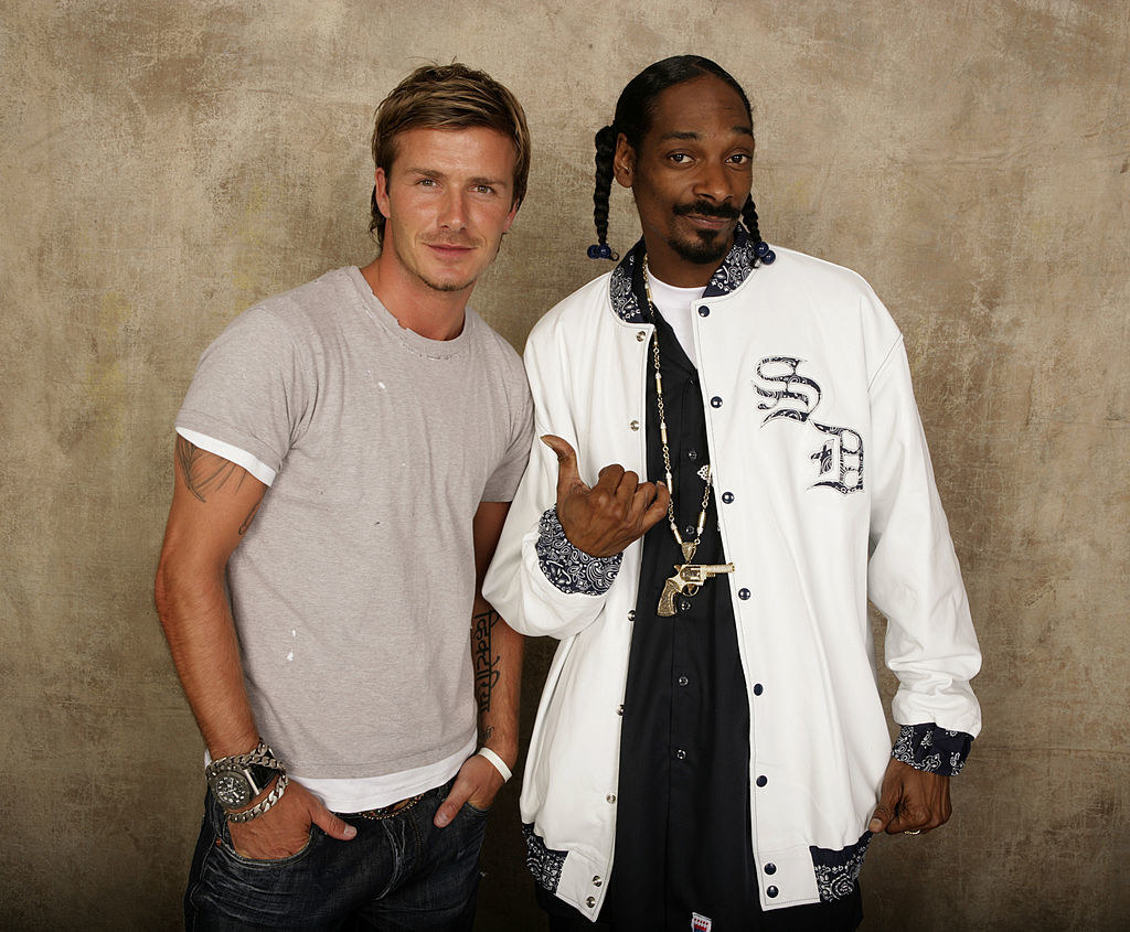 """Snoop Dogg and David Beckham backstage at the """"Live 8"""" concert in London in 2005"""