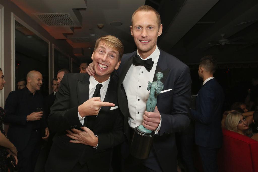 Alexander Skarsgård and Jack McBrayer happily posing together at the SAG Awards