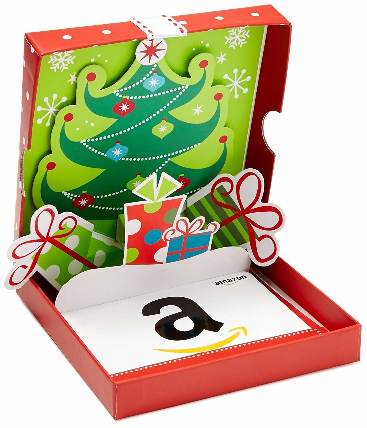 the amazon gift card in a holiday box