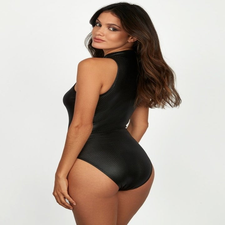 back view of the body suit to show full coverage in the bottoms