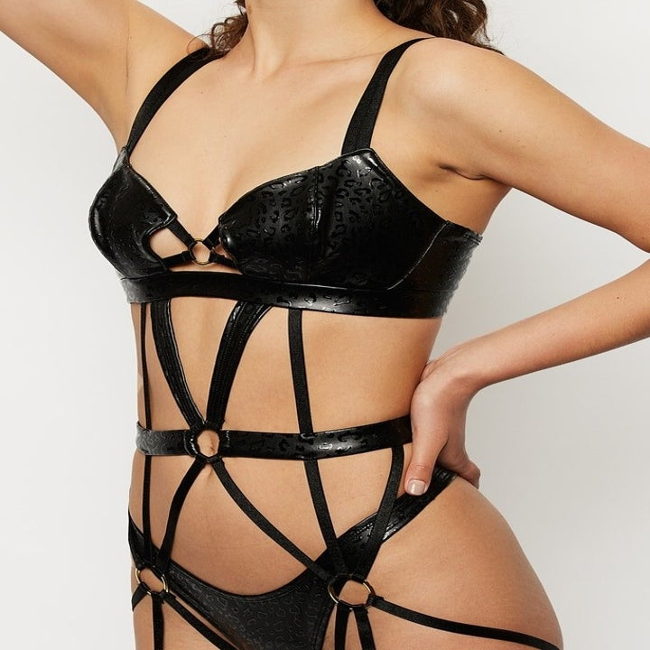 close up of the straps across the stomach and waist on the teddy