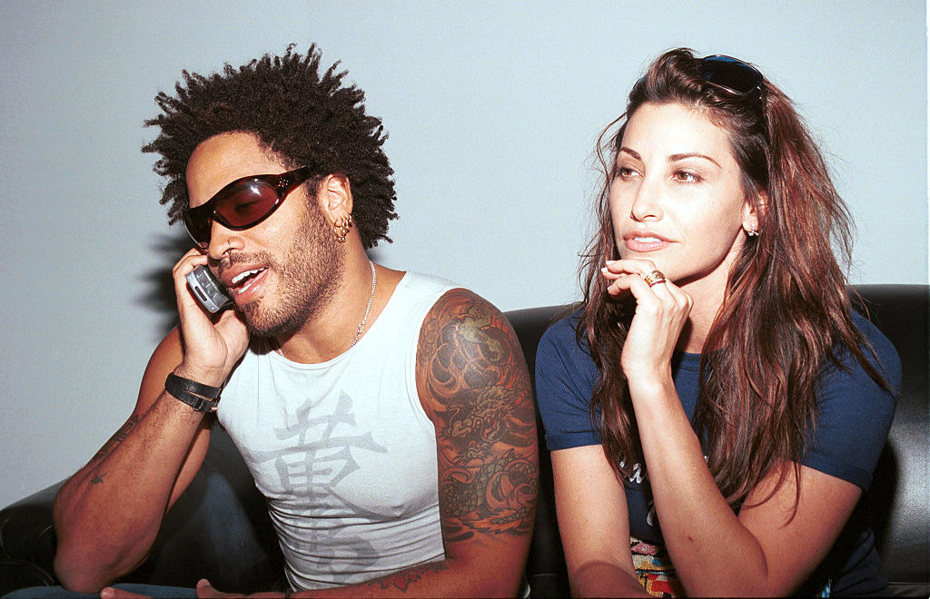 Lenny Kravitz and Gina Gershon backstage at the Rock'n'Road Rally party in 2000