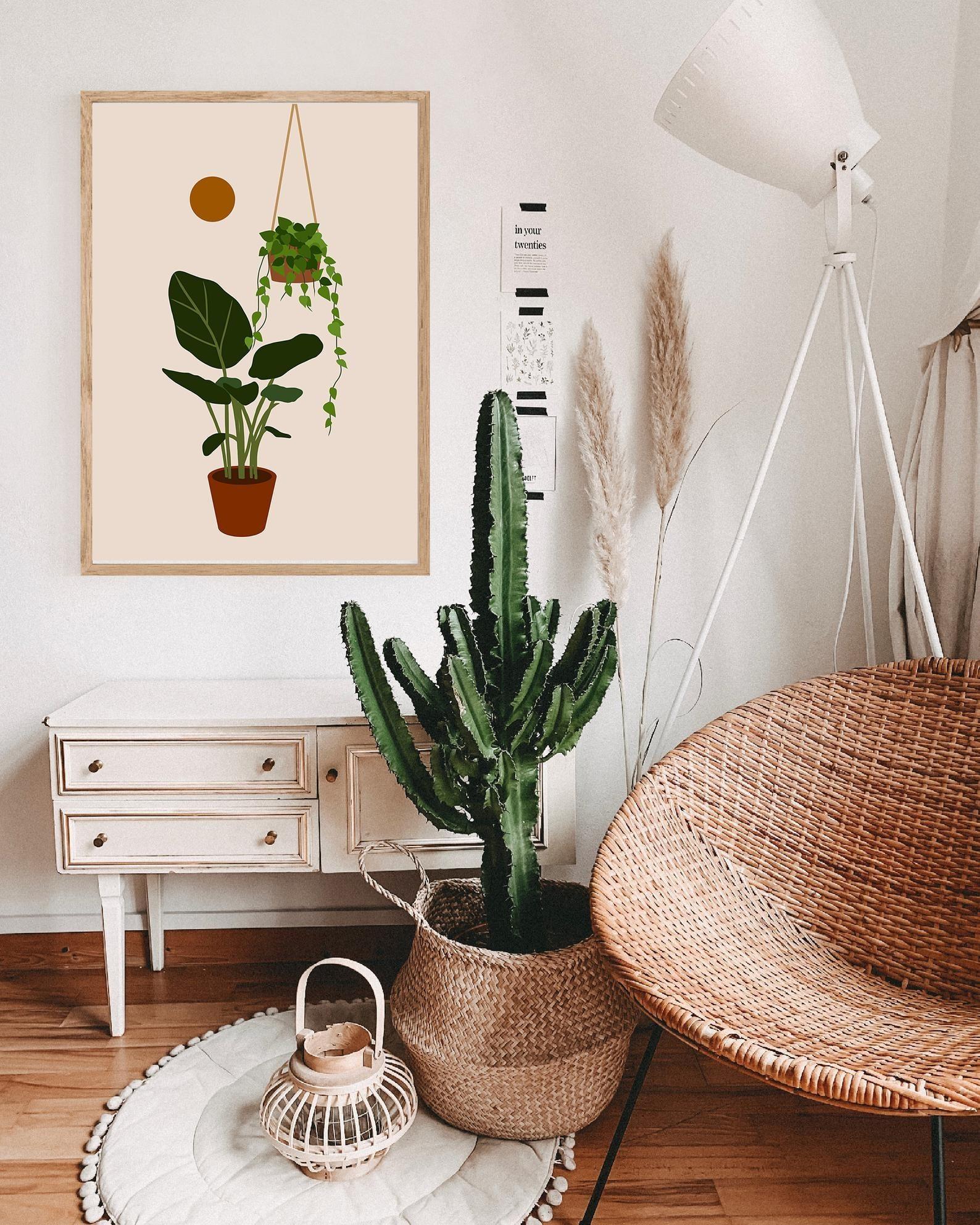 A plant art print framed on a wall