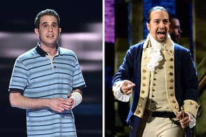 Evan Hansen is on the left wearing a cast with Alexander Hamilton singing on the right