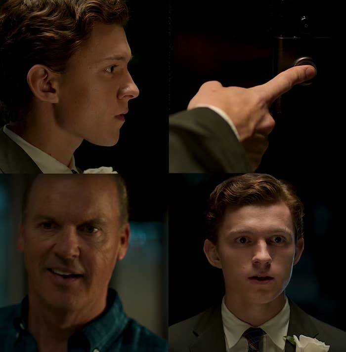 """Tom Holland as Peter Parker / Spider-Man and Michael Keaton as Adrian Toomes / Vulture in the movie """"Spider-Man: Homecoming."""""""