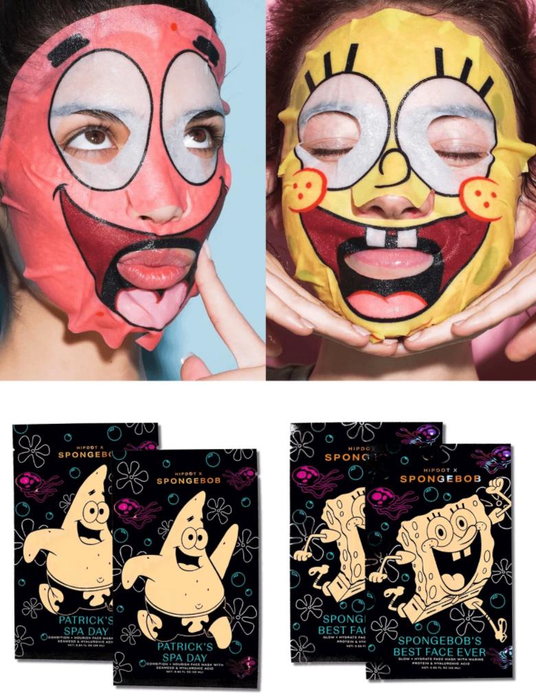 Models wearing the Patrick and Spongebob face masks