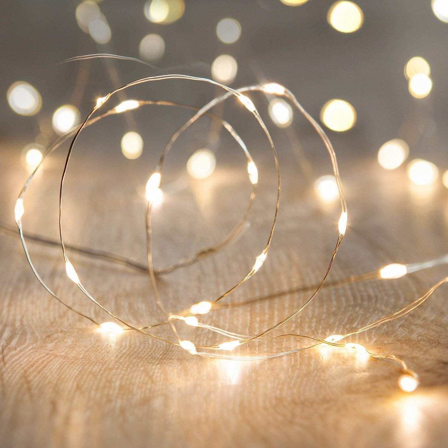 The warm white string lights
